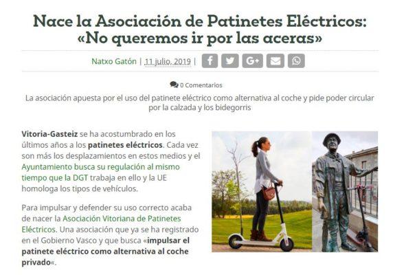 Artículo sobre la asociación de patinetes en Vitoria